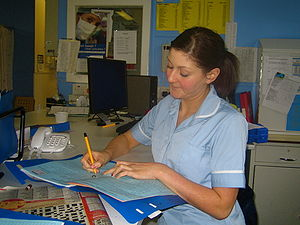 Staff Nurse Andrea writing up her notes.jpg